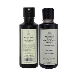 Khadi Pure Shikakai And Shikakai & Honey Shampoo Sls Free Combo (420ml) Pack 2