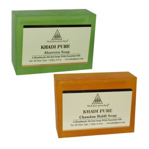 Khadi Pure Aloevera And Chandan Haldi Soap Combo (250g) Pack 2