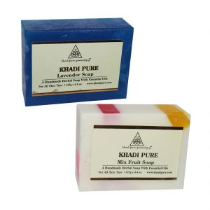 Skin Care - Khadi Pure Lavender and Mix Fruit Soap Combo (250g) Pack 2