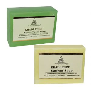 Khadi Pure Neem Tulsi And Saffron Soap Combo (250g) Pack 2