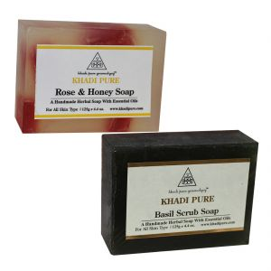 Khadi Pure Rose & Honey And Basil Scrub Soap Combo (250g) Pack 2