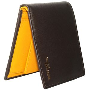 Tamanna Men Brown, Yellow Genuine Leather Wallet (5 Card Slots)