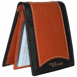 Tamanna Men Tan, Black Genuine Leather Wallet (7 Card Slots)