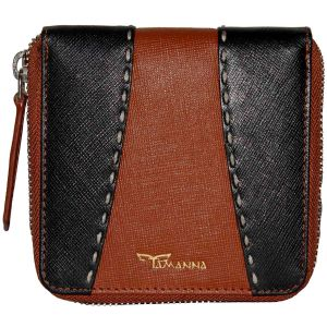 Tamanna Men Black, Tan Genuine Leather Wallet (8 Card Slots)