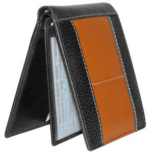 Tamanna Men Black, Tan Genuine Leather Wallet (9 Card Slots)