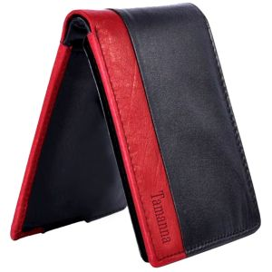 Tamanna Men Black, Red Genuine Leather Wallet (8 Card Slots)