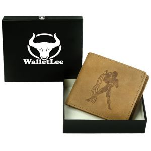Walletlee Men Tan Genuine Leather Wallet (8 Card Slots)