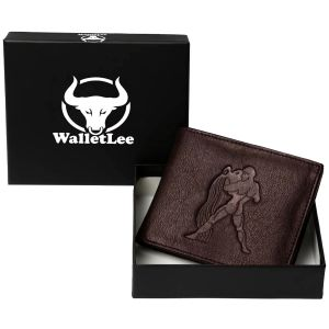 Walletlee Men Brown Genuine Leather Wallet (1 Card Slot) (code - Lwm00145-wl)
