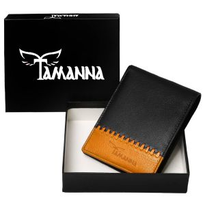 Tamanna Men Black, Tan Genuine Leather Wallet (1 Card Slot)