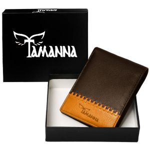 Tamanna Men Brown, Tan Genuine Leather Wallet (1 Card Slot)