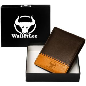 Walletlee Men Brown, Tan Genuine Leather Wallet (1 Card Slot)