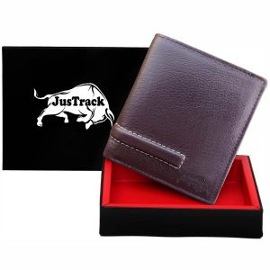 Justrack Men Brown Genuine Leather Wallet (6 Card Slots)