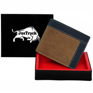 Justrack Men Brown, Blue Genuine Leather Wallet (6 Card Slots)