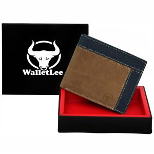 Walletlee Men Brown, Gold Genuine Leather Wallet (6 Card Slots)