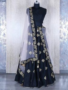 New Latest Bollywood Designer Embroidered Navy Blue Party Wear Lehenga Choli (code - Navy Blue)