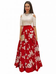 New Latest Bollywood Designer Red And Off-white Banglori Silk Embroidered Lehenga Choli (code - Red And Off-white)