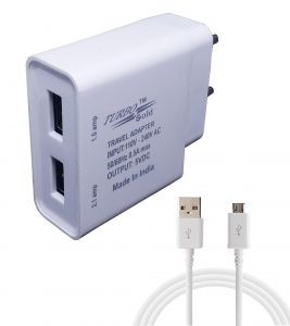 Turbo Gold Dual Port 2 Amp & 1 Amp Charger Adapter With 2.0 Micro USB Data Cable For Samsung Mobile Phones White