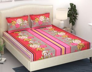 Wi International Beautiful Cotton Double Bedsheet With Two Pillow Cover