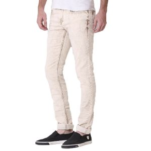 Kozzak Mens Slim Fit Light Fade Khaki Denim Jeans ( Code - 2079 )