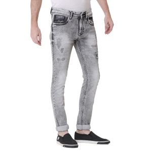Kozzak Mens Black Grey Slim Fit Light Fade Denim Jeans ( Code - 2218 )