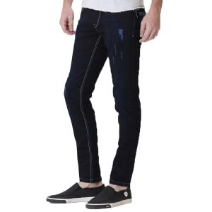 Kozzak Mens Slim Fit Dark Blue Mild Distressed Denim Jeans ( Code - 2290 )