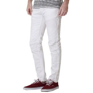 Kozzak Mens Slim Fit Solid White Denim Jeans ( Code - 2333 )