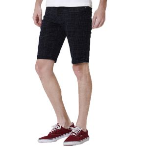 Kozzak Mens Slim Fit Dark Blue Denim Printed Bermuda Shorts ( Code - 2362 )