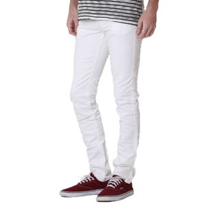 Kozzak Mens Slim Fit Solid White Denim Jeans ( Code - 2543 )