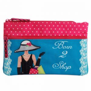 Pinaken Born To Shop Embroidered & Embellished Two Zipper Pouch