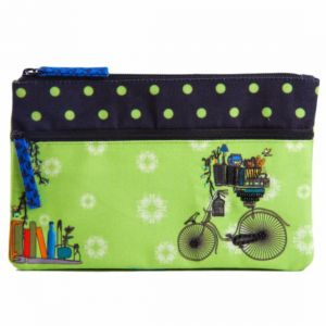 Bags, Luggage - Pinaken Brain Bridge Cycle Embroidered & Embellished Two Zipper Pouch