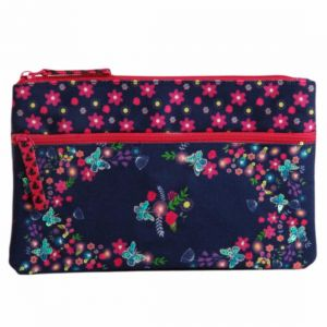 Pinaken Butterfly Bloom Embroidered & Embellished Two Zipper Pouch