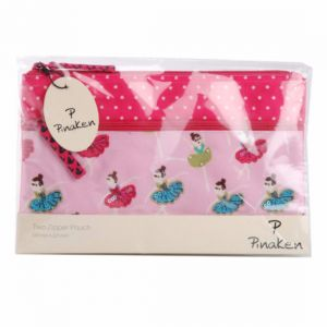 Pinaken Ballerina Embroidered & Embellished Two Zipper Pouch