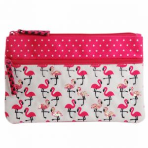 Travel organisers - Pinaken Flamingo Blush Embroidered & Embellished Two Zipper Pouch