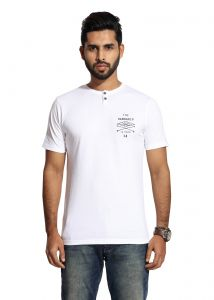 Handgrip White Henley Neck Men