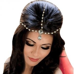 Jewelmaze Gold Plated Stone And Pearl Maang Tikka( Code - Faj0098)