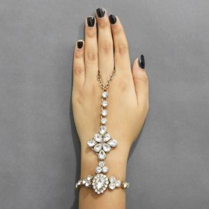Jewelmaze Gold Plated White Glass Stone Chain Hand Harness( Code - Faj0119)