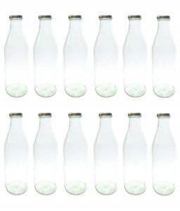 Favola Premium Milk, Water, Oil And Juice Glass Bottle With Airtight, Rust Proof Golden Cap (pack Of 12 Bottles)