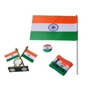 Indigo Creatives Handheld Indian Flag With Wristband, Shirt Button And Patriotic Flag Desktop Clock Combo