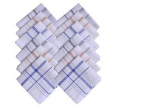 Mens White Cotton Handkerchiefs Set Of 12 PCs In Box