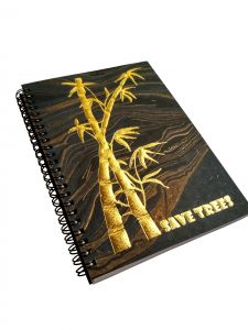 A5 Handmade Notebook, 100% Cotton, 120 GSM ,120 Pages, Marbled Paper With Gold Embossed Artistic Design (code -black120)