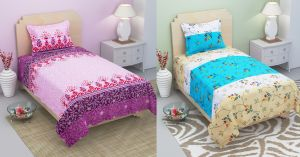 Bene Cotone Single Printed Bedsheet With 1 Pillow Covers ( Set Of 2 )