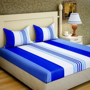 Home Decor ,Kitchen  - 100 Percent Cotton Double Bedsheet With 2 Pillow Covers (code - RG-CB-15)
