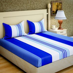 Zesture Double Bed Sheets - 100 Percent Cotton Double Bedsheet With 2 Pillow Covers (code - RG-CB-15)
