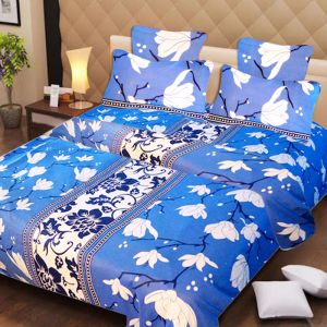 Bed Sheets - 100 Percent Cotton Double Bedsheet & 2 Pillow Covers - (code - RG-NCB-233)