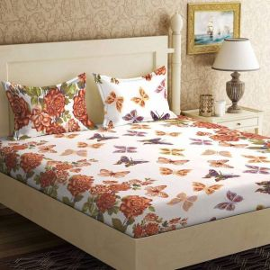 Double Bed Sheets - 100 Percent Cotton Double Bedsheet & 2 Pillow Covers - (code - RG-NCB-412)