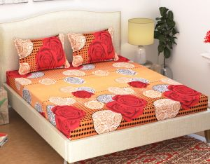 Double Bed Sheets - 100 Percent Cotton Double Bedsheet & 2 Pillow Covers - (code - RG-NCB-320)