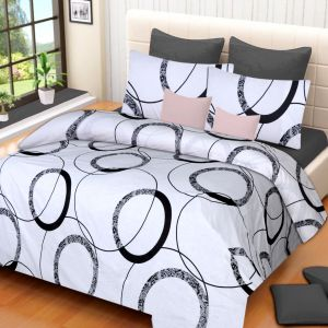 Double Bed Sheets - 100 Percent Cotton Double Bedsheet & 2 Pillow Covers - (Code - RG-NCB-328)