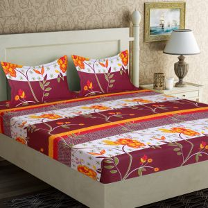 Bed Sheets - 100 Percent Cotton Double Bedsheet & 2 Pillow Covers - (code - RG-NCB-456)