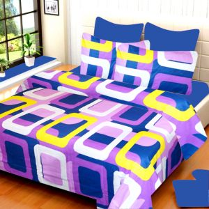 Zesture Home Decor ,Kitchen  - 100 Percent Cotton Double Bedsheet With Two Pillow Covers (Code - RG-NCB-40)