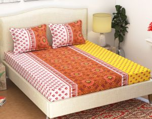 Home Decor & Furnishing - 100 Percent Cotton Double Bedsheet & 2 Pillow Covers - (code - RG-NCB-412)